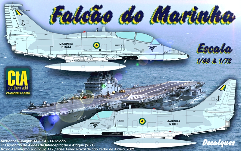 Cut then Add 1/72 and 1/48 AF-1 Falcão decals